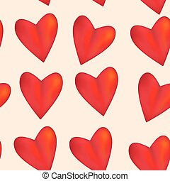 Red glossy shiny three-dimensional heart 3d on pink background seamless pattern.