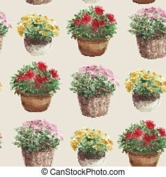 Yellow, pink, red flower in a flower pot, seamless pattern, beige background.