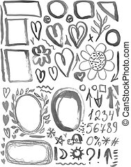 characters, frames, figures, heart, arrow black ink stains on a white background. vector