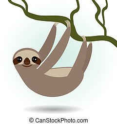 Three-toed sloth on green branch on white background vector...