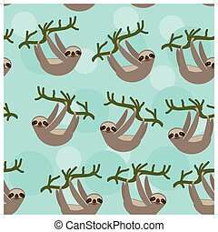 Seamless pattern Three-toed sloth on green branch on blue...