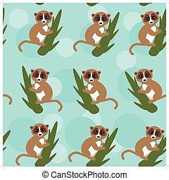 Seamless pattern lemur on green branch on blue background....