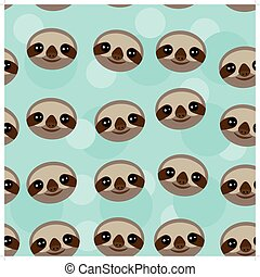 Seamless pattern Three-toed sloth muzzle on blue background...