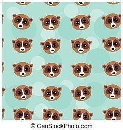 Seamless pattern lemur muzzle on blue background. vector -...