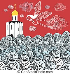 Orthodox church and the river of li - beautiful graphic...
