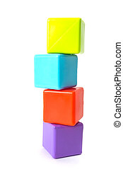 Tower of stacked cubes - Colorful cubes stacked into a high...