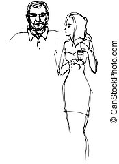 sketch of a guy hugs a girl with a glasst - vector sketch of...