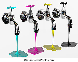 cmyk taps - faucets with cyan magenta yellow and black...