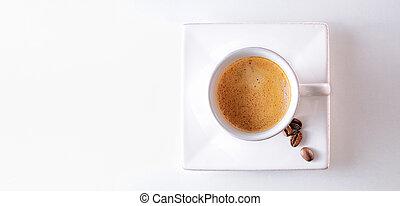 taza, y, café, frijoles, en, Un, tabla, cima, vista,