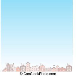 nature blue background with City. Vector