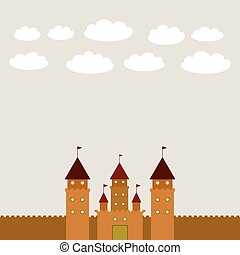 Card With Castle princess fairytale landscape. vector
