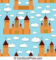 Seamless pattern castle, fairytale landscape. Blue background with clouds. vector