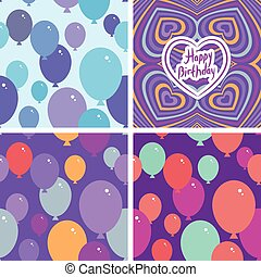 Set 3 Seamless pattern with balloons and happy birthday card. Purple, pink, blue, orange background. vector