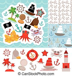 Vintage scrap nautical card and seamless pattern with sea animals, boats pirates. cute sea objects collection. Vector