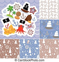 Vintage scrap nautical card and seamless pattern with sea animals, boats pirates. Vector