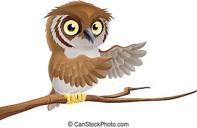 Cartoon owl on branch - An illustration of a cartoon owl on...
