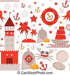 seamless pattern with sea icons on white background. Seamless pattern. Red and gray. vector