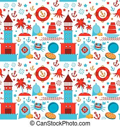 seamless pattern with sea icons on white background. Seamless pattern. Red and blue. vector