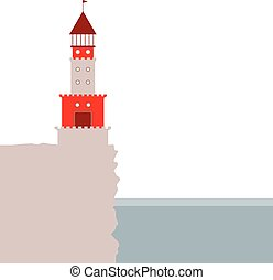 lighthouse, rocky island, ocean. Red and beige. vector