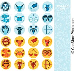 Two sets of Funny blue and orange zodiac sign icon...