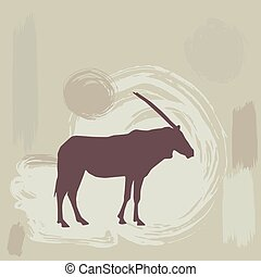 East African oryx silhouette on grunge background. vector