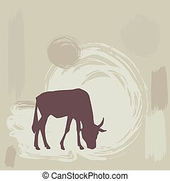 Wildebeest silhouette on grunge background vector...