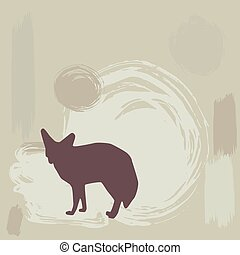 Fennec fox silhouette on grunge background vector...