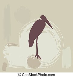 stork silhouette on grunge background. vector illustration