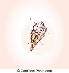 pink ice cream Hand drawn sketch on pink background. vector...