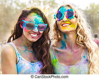 Portrait of happy girls on holi color festival - Portrait of...