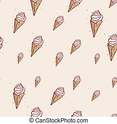 pink ice cream Hand drawn sketch on pink background....