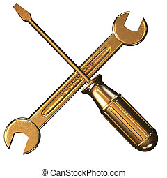 screwdriver and golden key - excellent concept screwdriver...