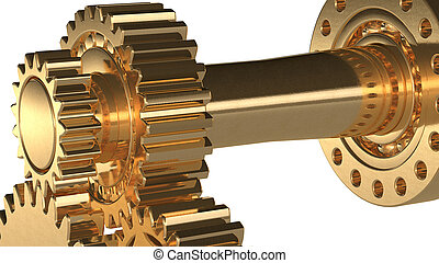 golden gears - machine concept made with golden gears 3d...