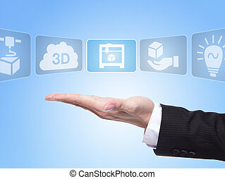 3D print concept , business man hand palm holding all kinds...