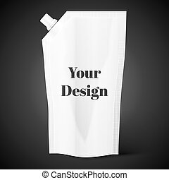 Blank spout pouch, bag foil or plastic packaging - White...