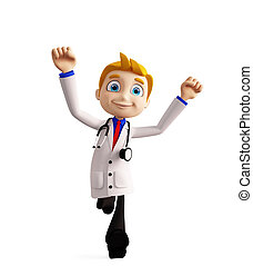 Doctor with running pose - 3d illustration of doctor with...