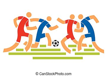 Four Soccer players. Abstract stylized llustration.