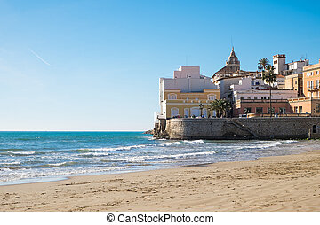 The beach of Sitges in Catalonia, Spain