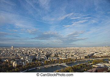 パリ, 太陽, 夕方, 光景