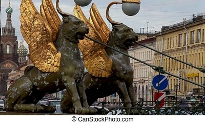 Griffins guard the St Petersburg - The Bank Bridge St...