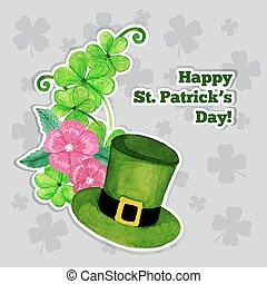 St.patrick day greeting card with hat, flowers and clover