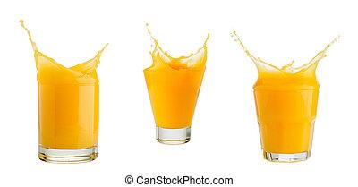 orange juice splash isolated on white - orange juice splash...
