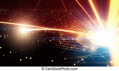 global network - network brings together the whole  earth