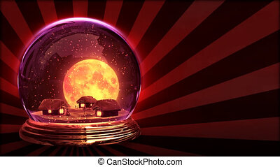 Christmas ball - Small village in glass ball. Big moon on...