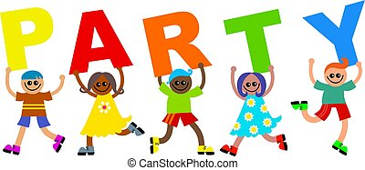 party kids - A group of happy and diverse children holding...