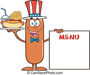 Patriotic Sausage Cartoon Character