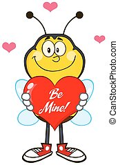 Smiling Bee Holding Red Heart