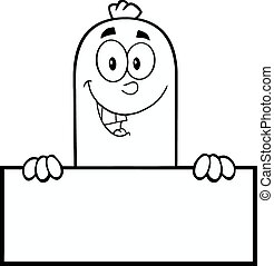 Black And White Smiling Sausage Cartoon Character Over A...