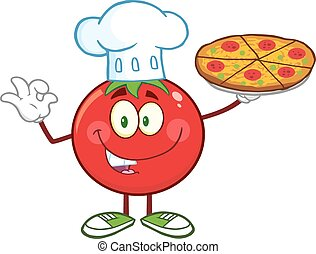 Tomato Chef Holding A Pizza