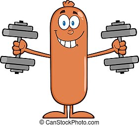 Sausage Training With Dumbbells - Sausage Cartoon Character...